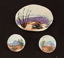 Landscape post earrings, pin